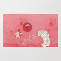 pig Area & Throw Rugs featuring Pig by yael frankel