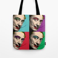 salvador dali Tote Bags featuring Salvador Dali  by mark ashkenazi