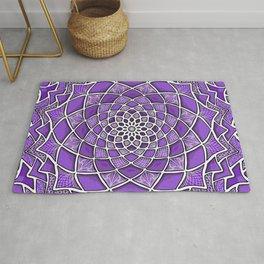 12-Fold Mandala Flower in Purple Rug