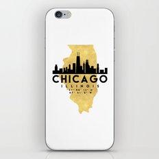 CHICAGO ILLINOIS SILHOUETTE SKYLINE MAP ART iPhone & iPod Skin