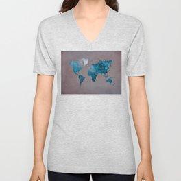 world map 104 blue #worldmap #map Unisex V-Neck