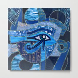 Egyptian Eye of Horus - Wadjet - Mixed Textures Metal Print