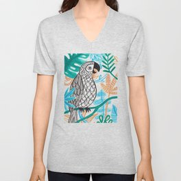 Parrot in the Jungle Unisex V-Neck