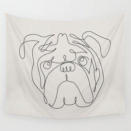 One Line English Bulldog Wall Tapestry