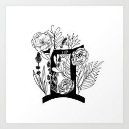 Gemini - monochrome floral horoscope Art Print