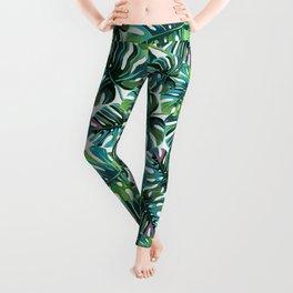 Elephant Tropical Leaves Pattern Leggings