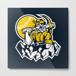Miner prospector baseball mascot . Metal Print