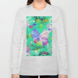 Paint on a green background texture Long Sleeve T-shirt