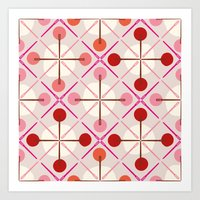 Crosses & Dots (red + pink) Art Print