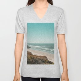 Beach Horizon | Teal Color Sky Ocean Water Waves Coastal Landscape Photograph Unisex V-Neck