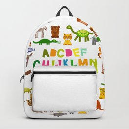 back to school. alphabet for kids from A to Z. funny cartoon animals Backpack