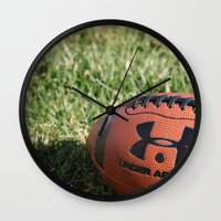 football Wall Clocks featuring Football by Images by Danielle