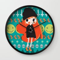 grunge Wall Clocks featuring Grunge by Irene Dose