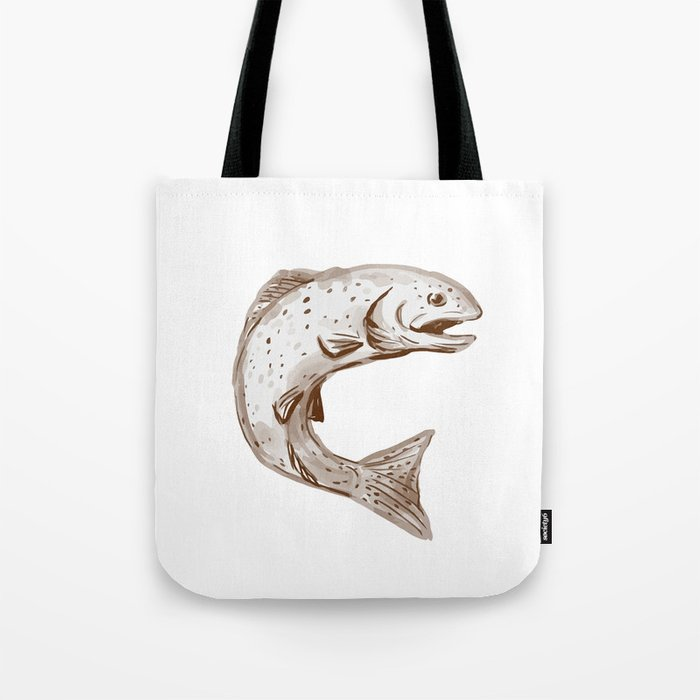 Rainbow Trout Jumping Watercolor Tote Bag
