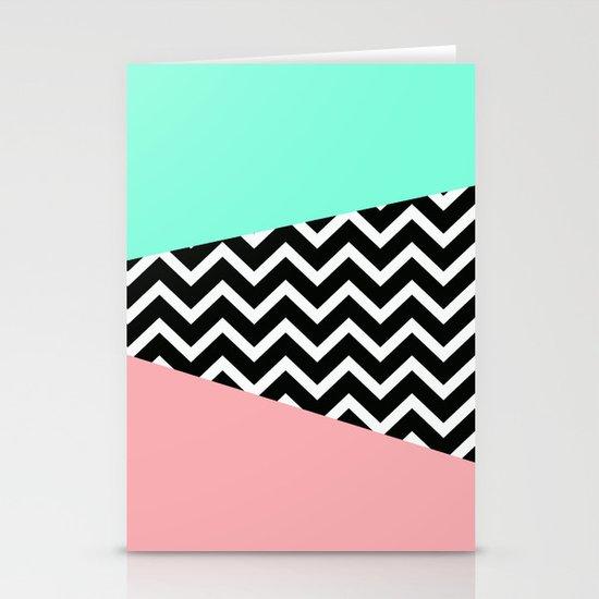 Pastel Chevron Tiffany Rose 80 S Pattern Stationery Cards