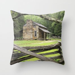 The Oliver Cabin in Cade's Cove in the Great Smokey Mountains Throw Pillow