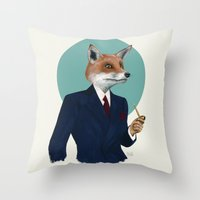 mr fox Throw Pillows featuring Mr. Fox by FAMOUS WHEN DEAD