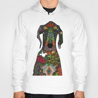 great dane Hoodies featuring Great Dane love white by Sharon Turner