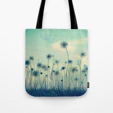 Whimsical Indigo Dandelion Flower Garden Tote Bag