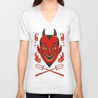 diablo V-neck T-shirts featuring El Diablo by John Clark IV