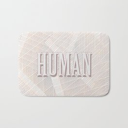 Human Typography Pattern on Weaved Textured Minimal Funny Bath Mat