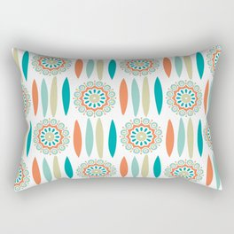 Mid Century Modern Mandala and Leaf Nature Print Rectangular Pillow