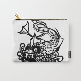 Demon Fish Wood Block Print Carry-All Pouch