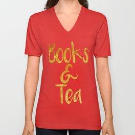 Books and Tea Unisex V-Neck