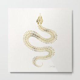 Snake Skeleton – Gold Metal Print