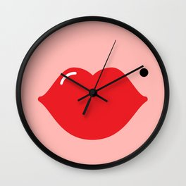 Lips (red on pink) Wall Clock