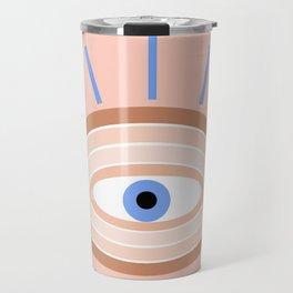 Retro evil eye - pink & blue Travel Mug