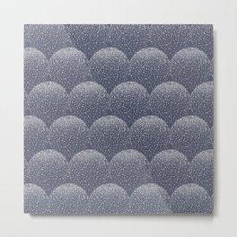White and blue scalloped dots geometric pattern Metal Print