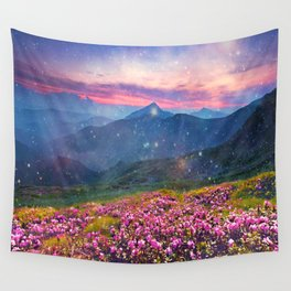 Blooming mountains Wall Tapestry