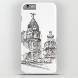 Metropolis Spain architecture sketch iPhone Case