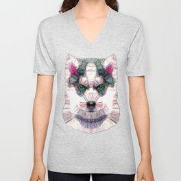 abstract husky puppy Unisex V-Neck