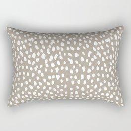 White on Dark Taupe spots Rectangular Pillow