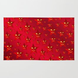 happy, smiling smileys on stars in rich red Rug