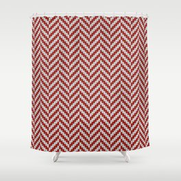 Realistic knitted herringbone pattern red Shower Curtain