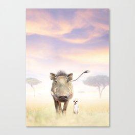 Warthog & Meerkat Canvas Print