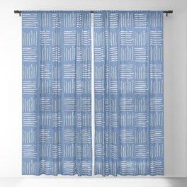 Geometrical grey lines pattern on blue Sheer Curtain