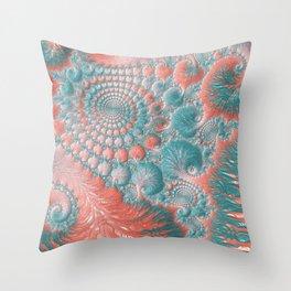 Abstract Living Coral Reef Nautilus Pastel Teal Blue Orange Spiral Swirl Pattern Fractal Fine Art Throw Pillow