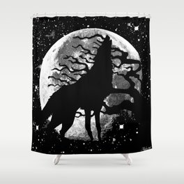 WOLF AND MOON IN BLACK AND WHITE Shower Curtain