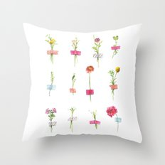 Watercolor Washi Tape Sprigs Throw Pillow