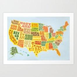 united states of america map art print