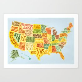 United States of America Map Art Print