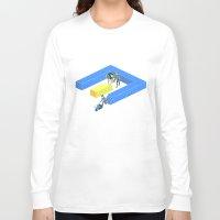 tron Long Sleeve T-shirts featuring Tron Wall by Krzysztof Kaluszka