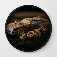 mad max Wall Clocks featuring Mad Max Interceptor by Ewan Arnolda