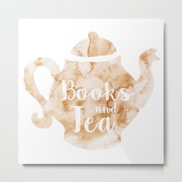 Books and Tea Metal Print