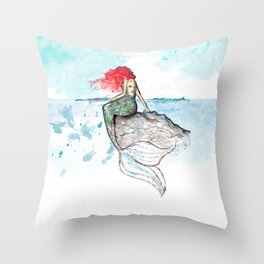 Mermaid - watercolor version Throw Pillow
