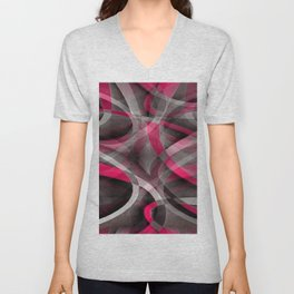 Eighties Rose Pink and Grey Funky Pattern Unisex V-Neck